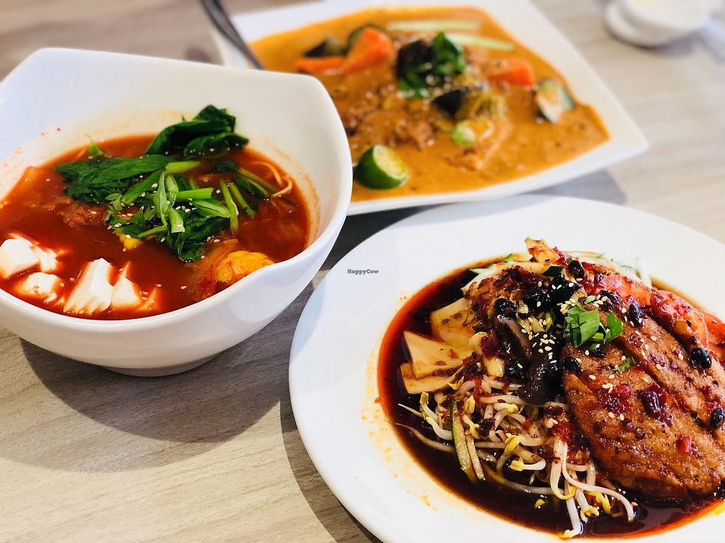 """Photo of O'bean Organic Soya Vegetarian Restaurant  by <a href=""""/members/profile/CherylQuincy"""">CherylQuincy</a> <br/>Pan fried chicken cold ramen, kimchi soup ramen, Indian Assam curry tempeh <br/> February 25, 2018  - <a href='/contact/abuse/image/110791/363683'>Report</a>"""