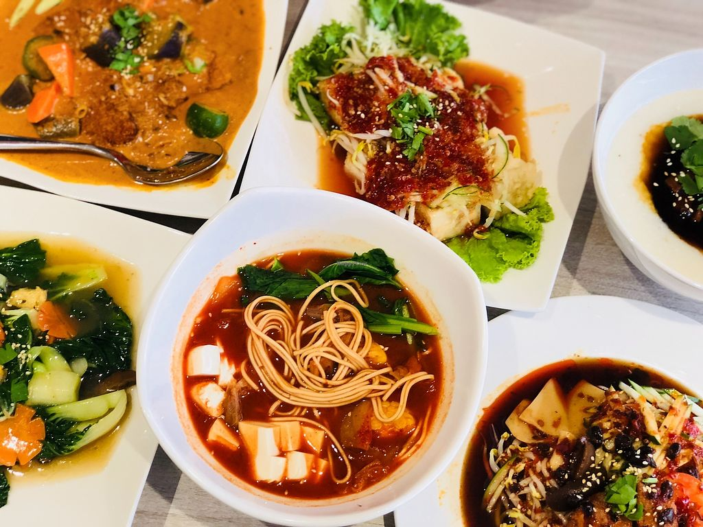 """Photo of O'bean Organic Soya Vegetarian Restaurant  by <a href=""""/members/profile/CherylQuincy"""">CherylQuincy</a> <br/>Pan fried chicken cold ramen, kimchi soup ramen, Indian Assam curry tempeh, Thai Style Tofu <br/> February 25, 2018  - <a href='/contact/abuse/image/110791/363691'>Report</a>"""