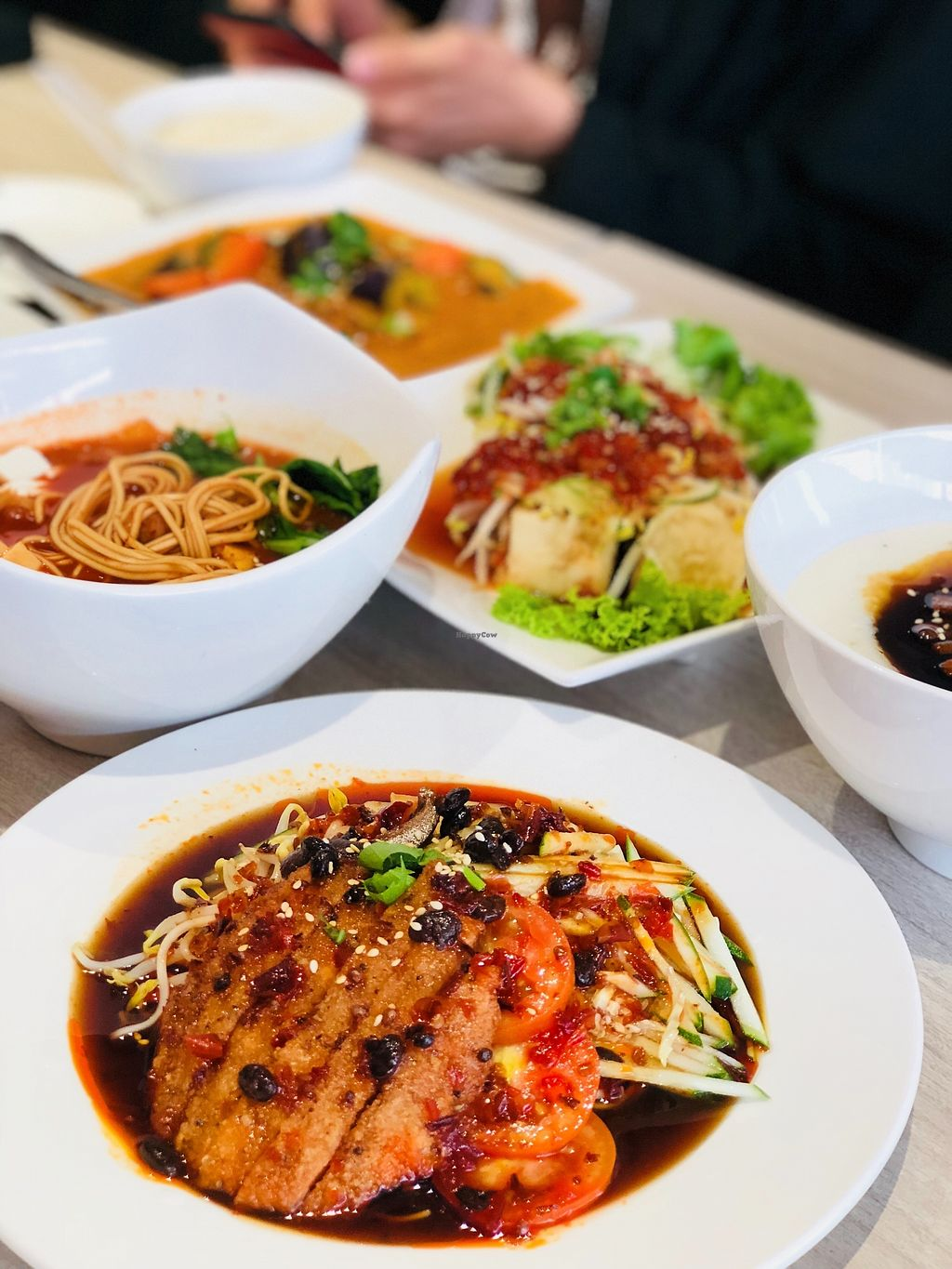 """Photo of O'bean Organic Soya Vegetarian Restaurant  by <a href=""""/members/profile/CherylQuincy"""">CherylQuincy</a> <br/>Pan fried chicken cold ramen, kimchi soup ramen, Indian Assam curry tempeh, Thai Style Tofu <br/> February 25, 2018  - <a href='/contact/abuse/image/110791/363692'>Report</a>"""