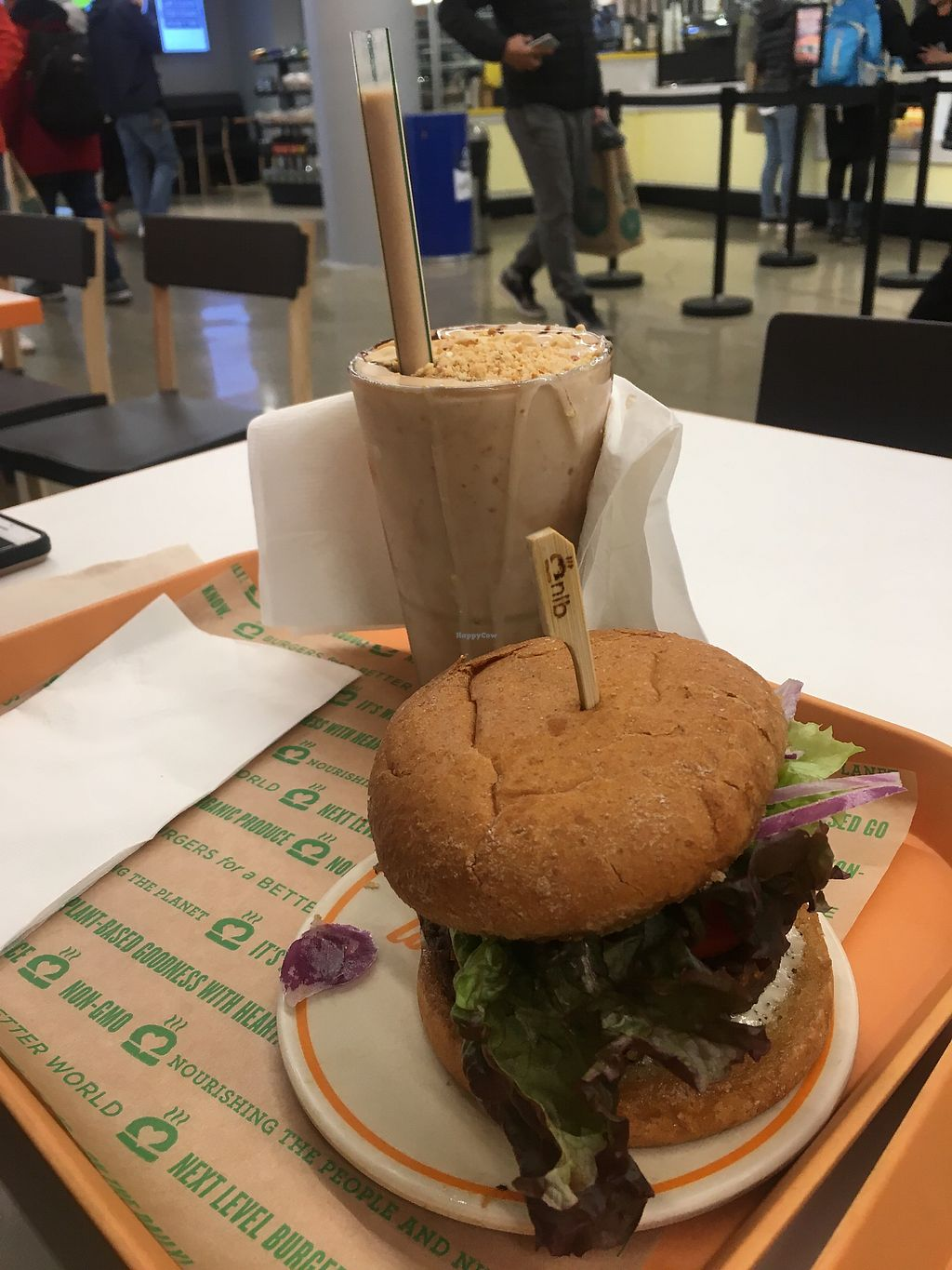 """Photo of Next Level Burger  by <a href=""""/members/profile/770veg"""">770veg</a> <br/>Black bean burger and PB chocolate shake! <br/> March 29, 2018  - <a href='/contact/abuse/image/110829/377924'>Report</a>"""