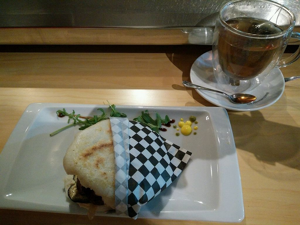 """Photo of Canaima Bistro  by <a href=""""/members/profile/SavPomegranate"""">SavPomegranate</a> <br/>Vegan arepa and tea!  <br/> February 8, 2018  - <a href='/contact/abuse/image/110912/356201'>Report</a>"""