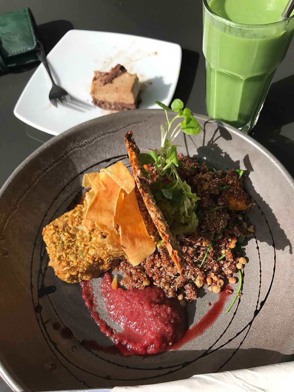 "Photo of Cafe Green Door  by <a href=""/members/profile/SabrinaMcKenzie"">SabrinaMcKenzie</a> <br/>Goddess bowl, green smoothie and raw slice  <br/> February 1, 2018  - <a href='/contact/abuse/image/110985/353802'>Report</a>"