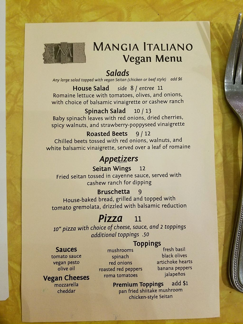 """Photo of Mangia Italiano  by <a href=""""/members/profile/madilyons"""">madilyons</a> <br/>vegan menu (pt 1) <br/> March 5, 2018  - <a href='/contact/abuse/image/111015/367228'>Report</a>"""