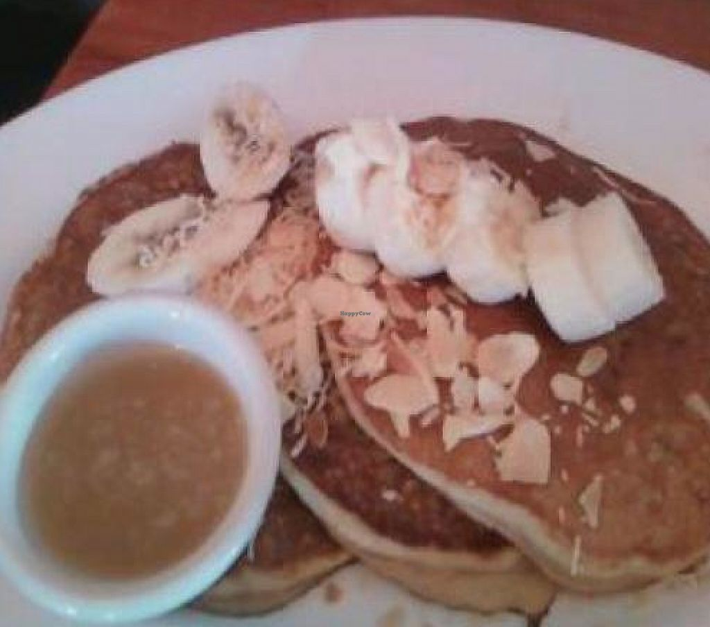 "Photo of Hugo's Restaurant - Studio City  by <a href=""/members/profile/Sonja%20and%20Dirk"">Sonja and Dirk</a> <br/>roasted coconut pineapple pancakes <br/> October 18, 2011  - <a href='/contact/abuse/image/11101/192131'>Report</a>"