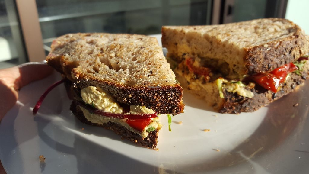 "Photo of Mark's Bread  by <a href=""/members/profile/JulianUK"">JulianUK</a> <br/>vegan sandwich of the day - it's large (that's a large dinner plate), tasty, nutritious and medium price - you could pay as much for a far inferior pre-packed shop one <br/> February 12, 2018  - <a href='/contact/abuse/image/111058/358457'>Report</a>"