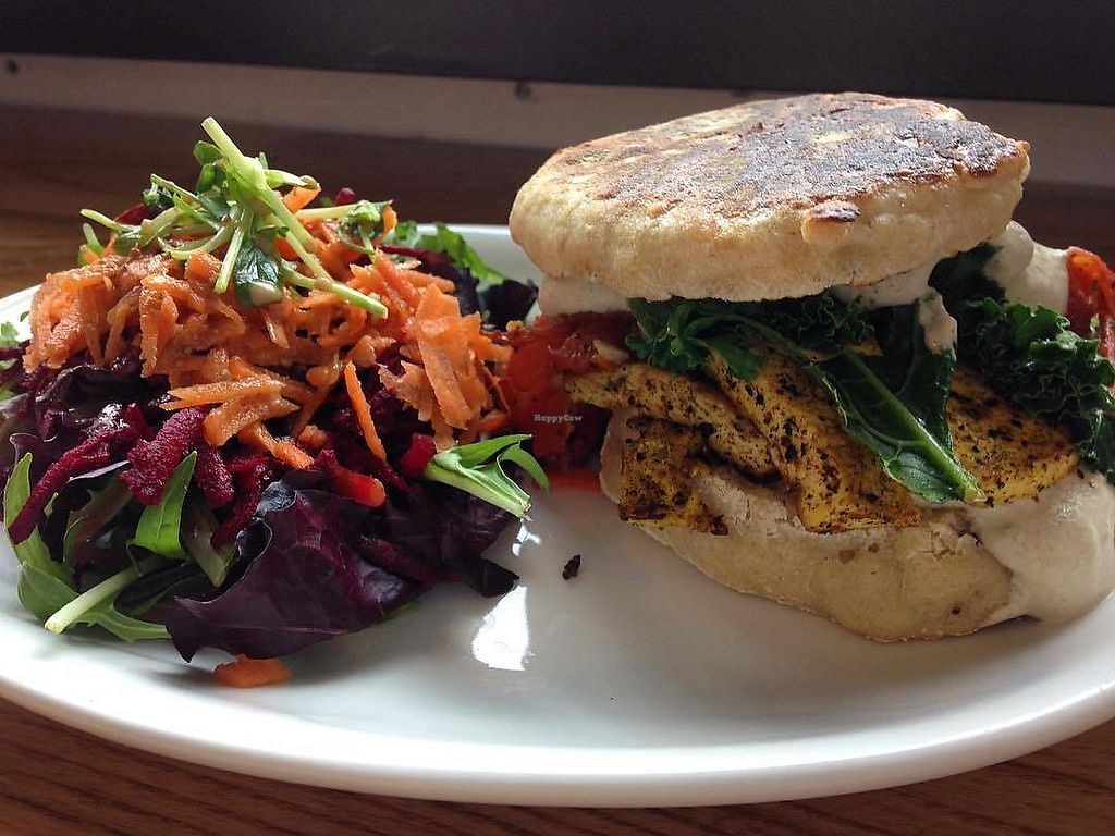 """Photo of Knead Bakery  by <a href=""""/members/profile/KneadVT"""">KneadVT</a> <br/>tofu, kale, pine nut boursin w/ side salad <br/> March 20, 2018  - <a href='/contact/abuse/image/111070/373373'>Report</a>"""