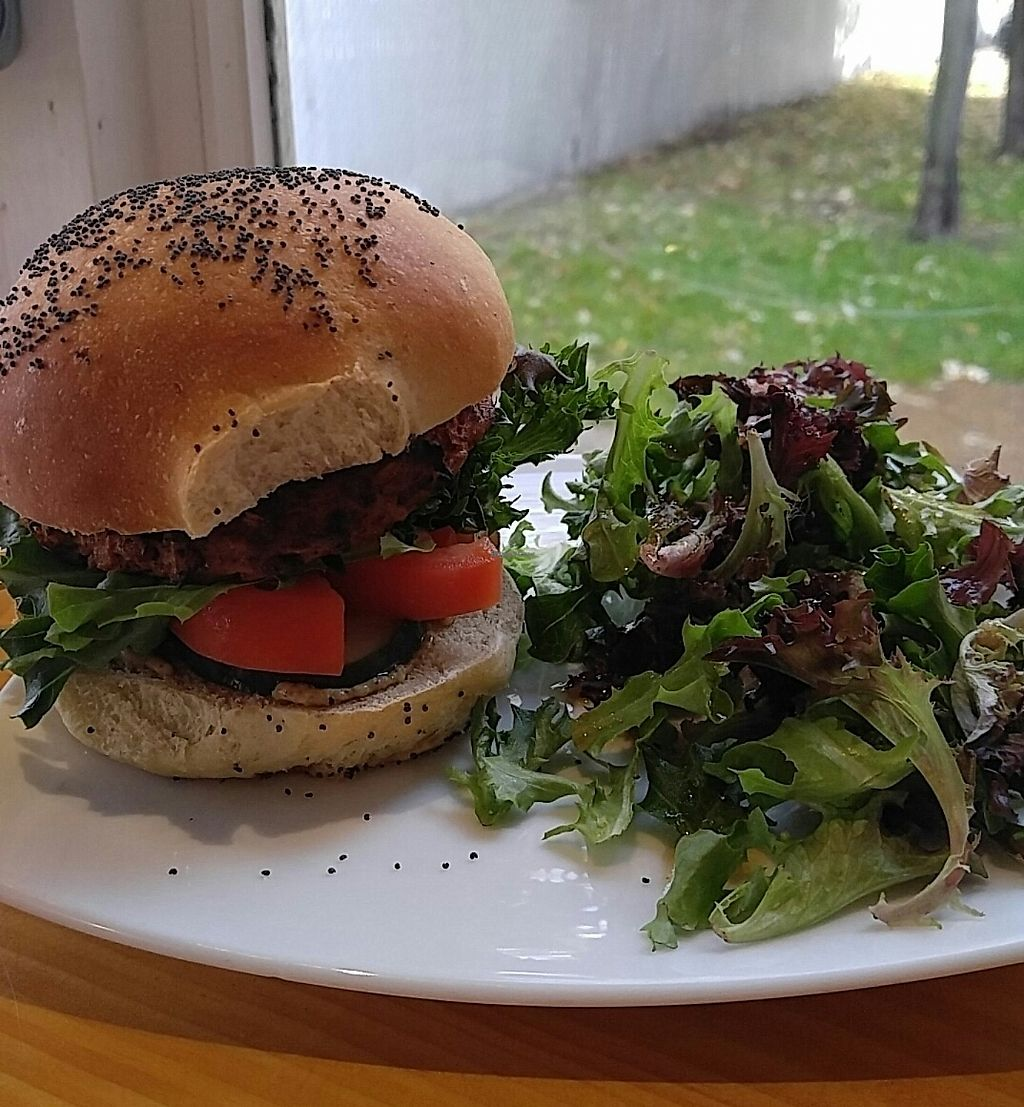 "Photo of Living Room  by <a href=""/members/profile/KarlyE"">KarlyE</a> <br/>Vegan burger crafted in-house with sesame bun <br/> February 3, 2018  - <a href='/contact/abuse/image/111085/354400'>Report</a>"