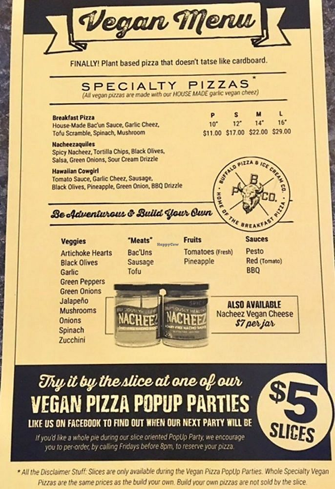 """Photo of Buffalo Pizza and Ice Cream  by <a href=""""/members/profile/Dcvegjess"""">Dcvegjess</a> <br/>Vegan menu <br/> February 14, 2018  - <a href='/contact/abuse/image/111097/359023'>Report</a>"""