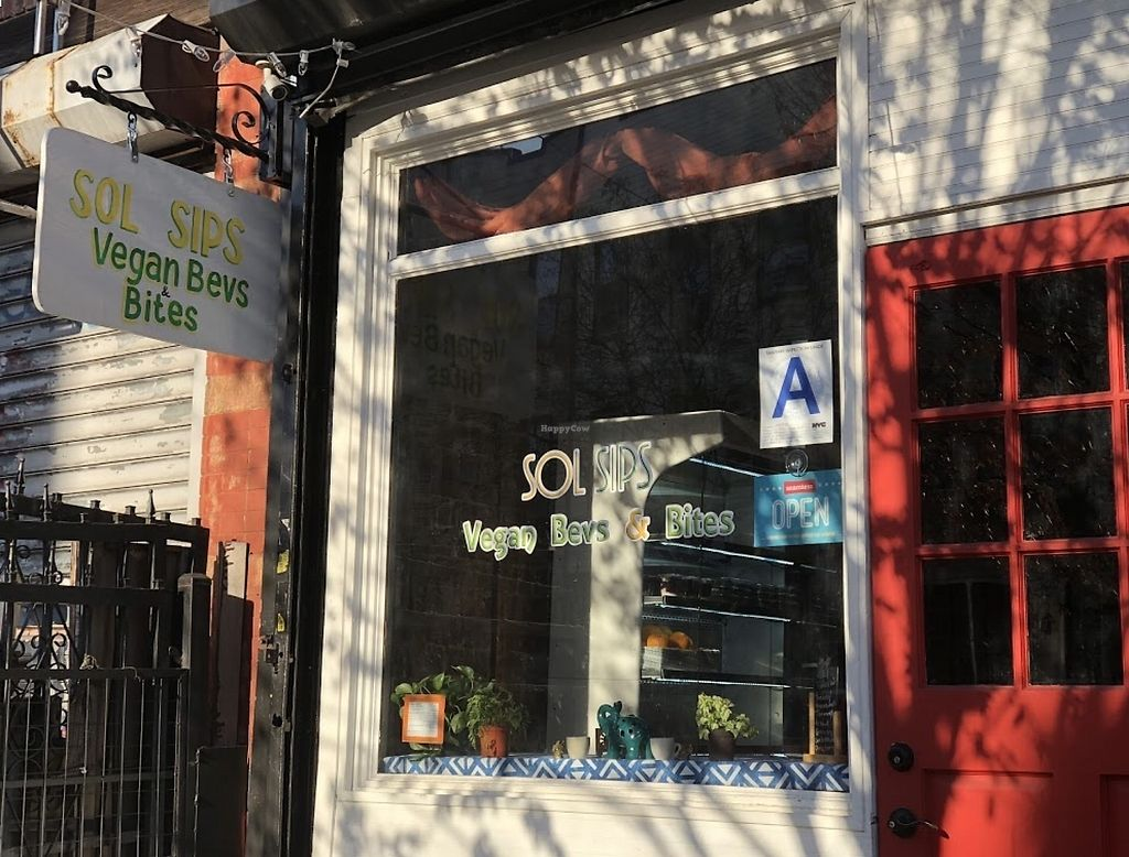 """Photo of Sol Sips  by <a href=""""/members/profile/Dryad"""">Dryad</a> <br/>Welcome! Vegan restaurant in Brooklyn!   <br/> March 19, 2018  - <a href='/contact/abuse/image/111099/372846'>Report</a>"""