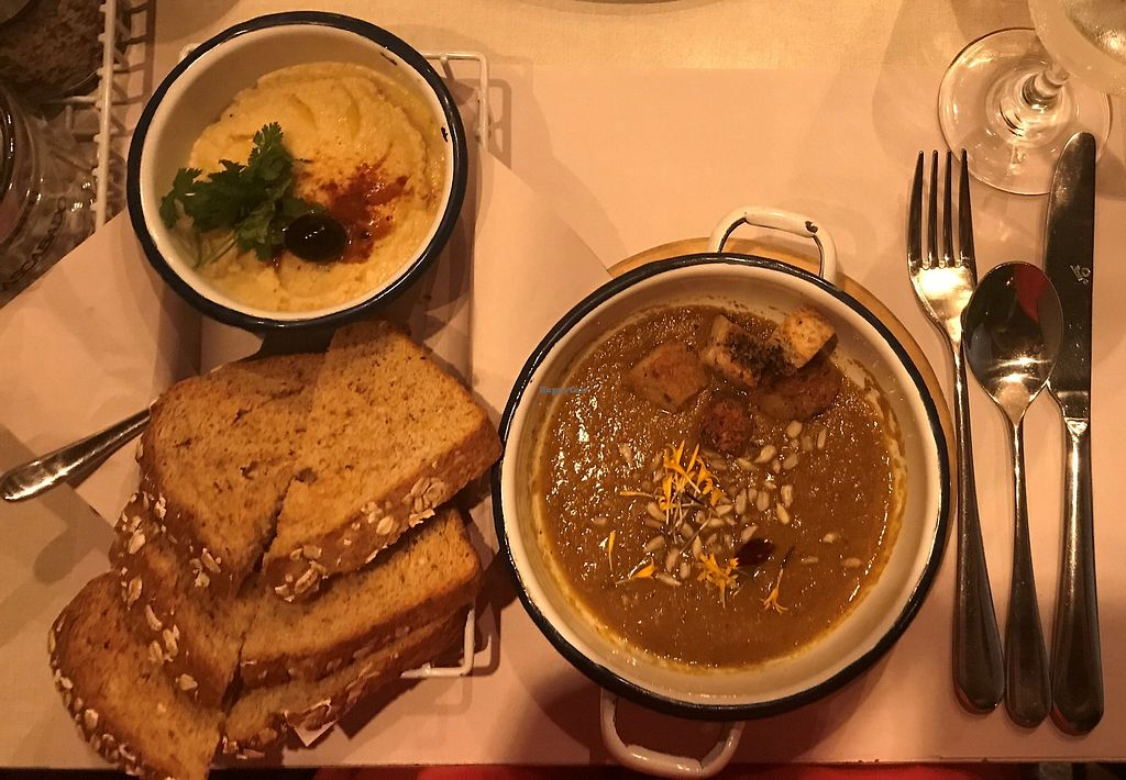 "Photo of Mascabado  by <a href=""/members/profile/daydreamer4life"">daydreamer4life</a> <br/>Hummus with toasted bread, and lentil soup <br/> February 5, 2018  - <a href='/contact/abuse/image/111172/355157'>Report</a>"