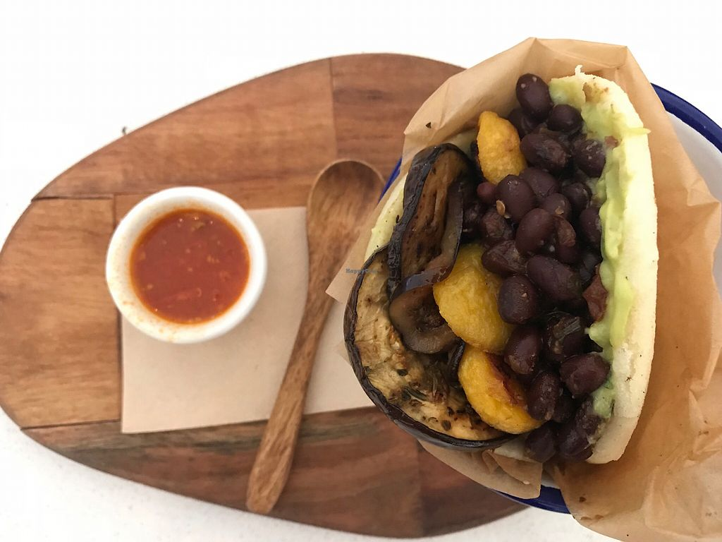 """Photo of El Indio  by <a href=""""/members/profile/JoannaCabot"""">JoannaCabot</a> <br/>Vegan gluten free arepa <br/> February 4, 2018  - <a href='/contact/abuse/image/111190/354799'>Report</a>"""