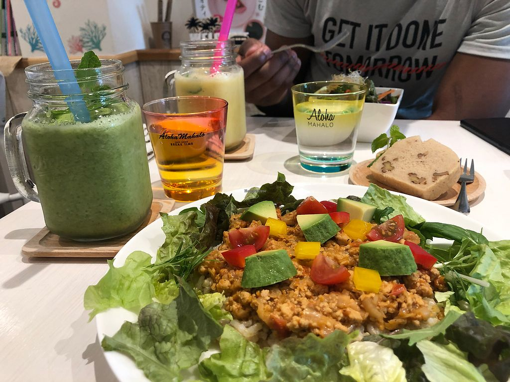"""Photo of Vegetable Cafe Mahaloha  by <a href=""""/members/profile/MiaLouiseRandall"""">MiaLouiseRandall</a> <br/>Taco Rice, Pound Cake, and Green Smoothie ?  <br/> March 29, 2018  - <a href='/contact/abuse/image/111191/377861'>Report</a>"""