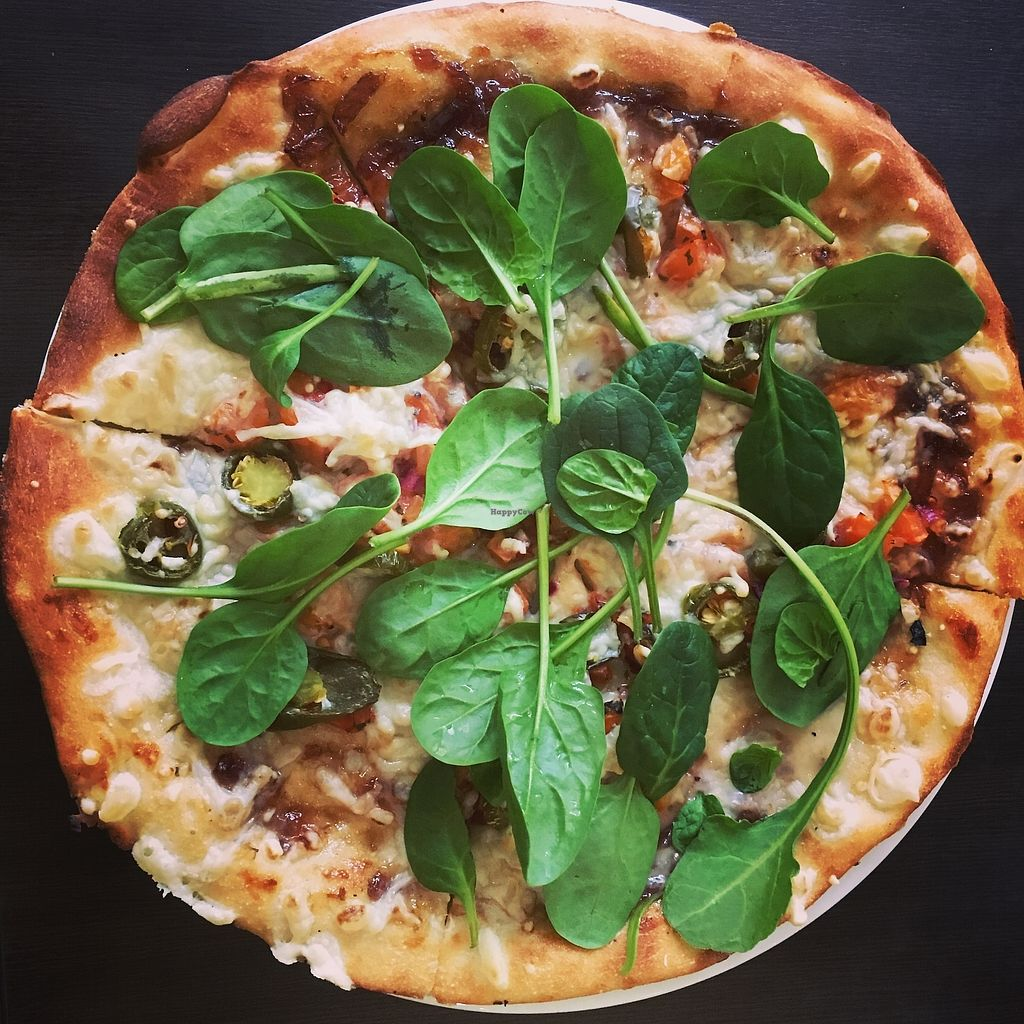 """Photo of Scribbles Pizza House  by <a href=""""/members/profile/radiocaz"""">radiocaz</a> <br/>Vegan caramelised onion pizza with extra jalapeños! <br/> February 4, 2018  - <a href='/contact/abuse/image/111214/355010'>Report</a>"""