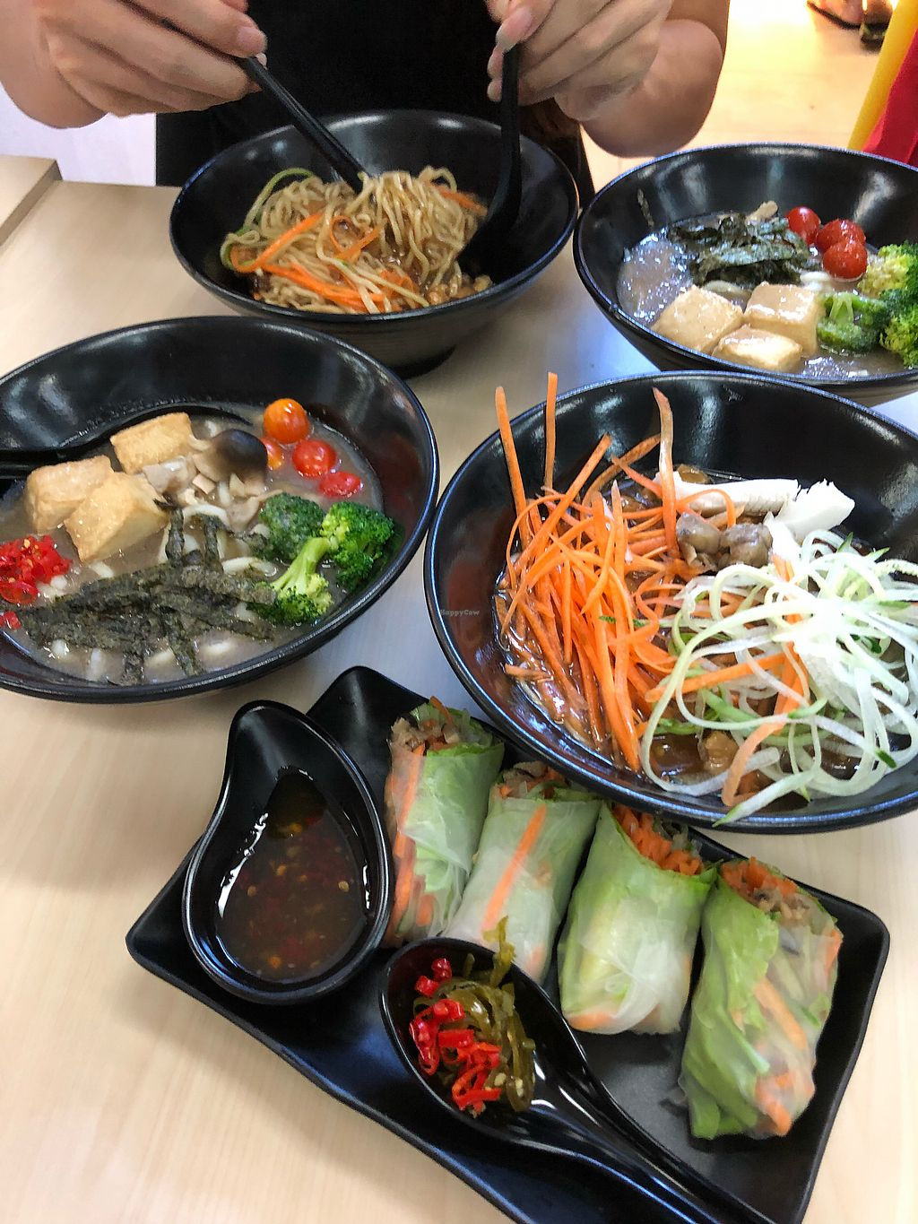 """Photo of Veggie House - Toa Payoh  by <a href=""""/members/profile/CherylQuincy"""">CherylQuincy</a> <br/>Spring rolls, mushroom udon and minced Soya Noodles <br/> February 7, 2018  - <a href='/contact/abuse/image/111216/356065'>Report</a>"""