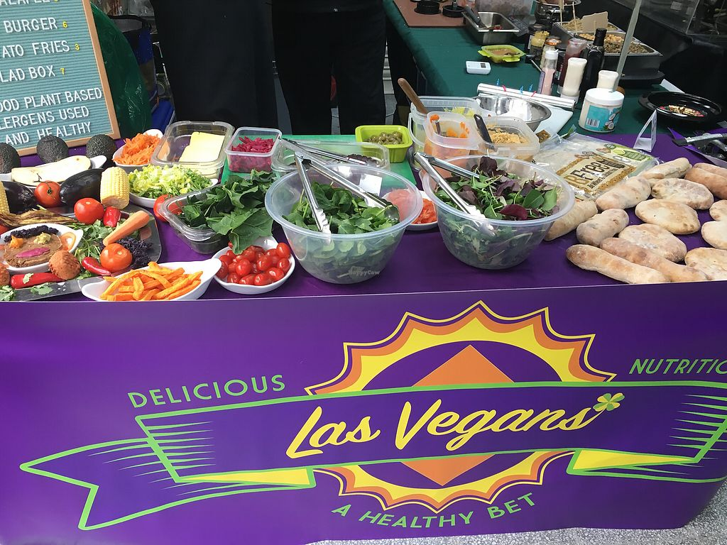 """Photo of Islington Vegan Market  by <a href=""""/members/profile/lysi"""">lysi</a> <br/>Las Vegans - burgers and falafels, even the pita wraps are gluten free, yay! <br/> February 18, 2018  - <a href='/contact/abuse/image/111222/360935'>Report</a>"""