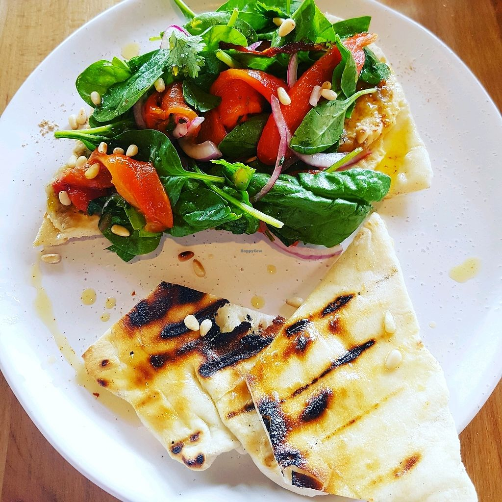 "Photo of The Butcher's Son  by <a href=""/members/profile/SophieAndrews"">SophieAndrews</a> <br/>The Med. Grilled flatbread, hummus, chargrilled aubergine, red capsicum salad, hemp oil and toasted pine nuts <br/> February 9, 2018  - <a href='/contact/abuse/image/111400/357011'>Report</a>"