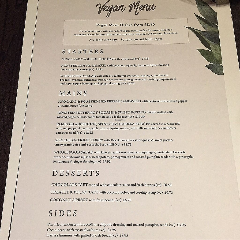 """Photo of The Inn on the Lake  by <a href=""""/members/profile/bakeydoesntbake"""">bakeydoesntbake</a> <br/>Vegan menu <br/> April 1, 2018  - <a href='/contact/abuse/image/111407/379571'>Report</a>"""