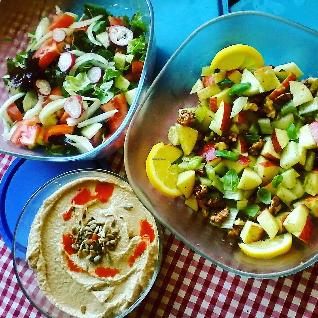 """Photo of Casa Das Flores  by <a href=""""/members/profile/CarolynCrawford"""">CarolynCrawford</a> <br/>Fresh salads and hummus always available. Apple and walnut salad with basil and lemon  <br/> April 24, 2018  - <a href='/contact/abuse/image/111452/390537'>Report</a>"""