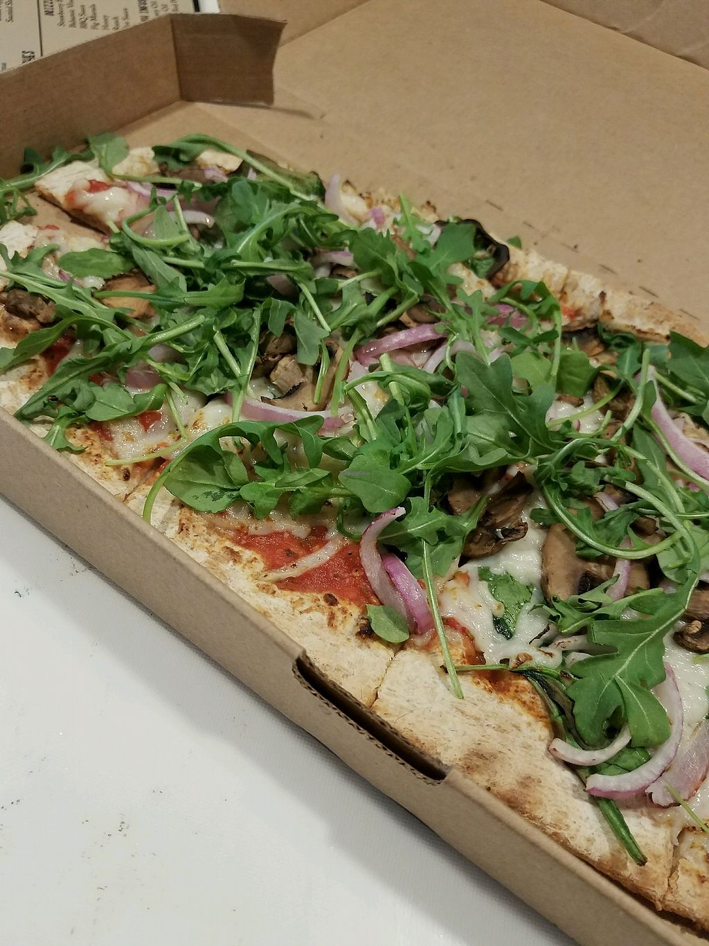 """Photo of Zablong  by <a href=""""/members/profile/trisstessa"""">trisstessa</a> <br/>Multigrain dough with mushrooms, red onion, spinach, arugula, and vegan cheese <br/> April 3, 2018  - <a href='/contact/abuse/image/111456/380383'>Report</a>"""