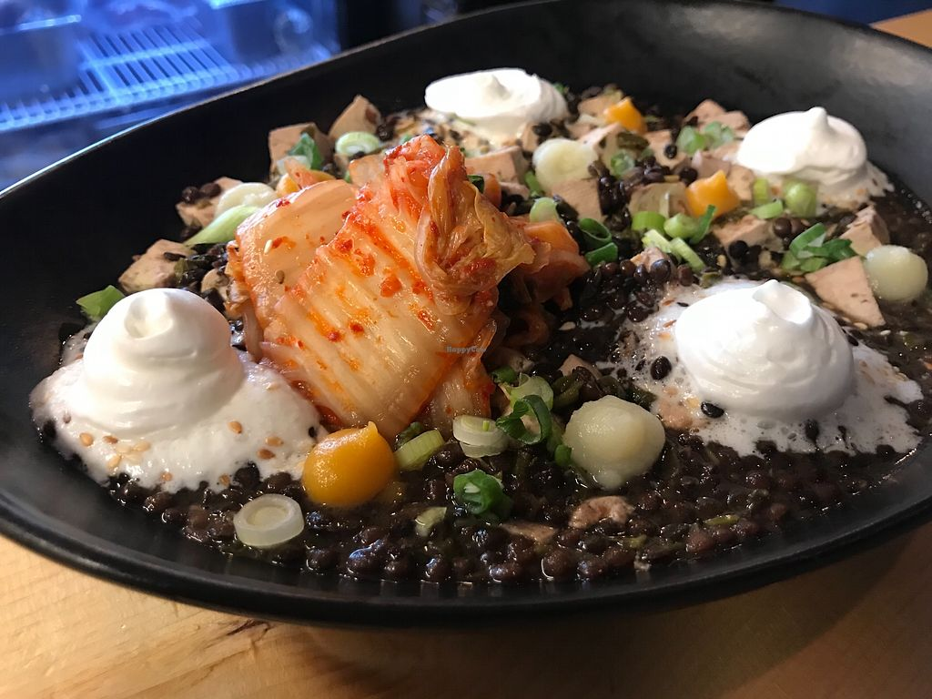 """Photo of Brasserie du Bas-Canada  by <a href=""""/members/profile/PhilippeBoily"""">PhilippeBoily</a> <br/>Beluga lentil and tofu with coco cream sesame and kimchee <br/> February 6, 2018  - <a href='/contact/abuse/image/111458/355785'>Report</a>"""
