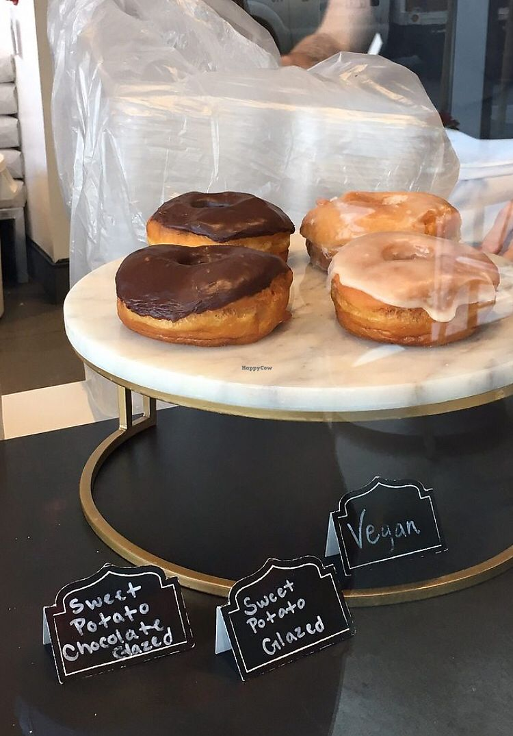 """Photo of Johnny Doughnuts  by <a href=""""/members/profile/whollyvegan"""">whollyvegan</a> <br/>Vegan yeasted donuts (sweet potato glazed & sweet potato chocolate) <br/> February 7, 2018  - <a href='/contact/abuse/image/111479/356043'>Report</a>"""