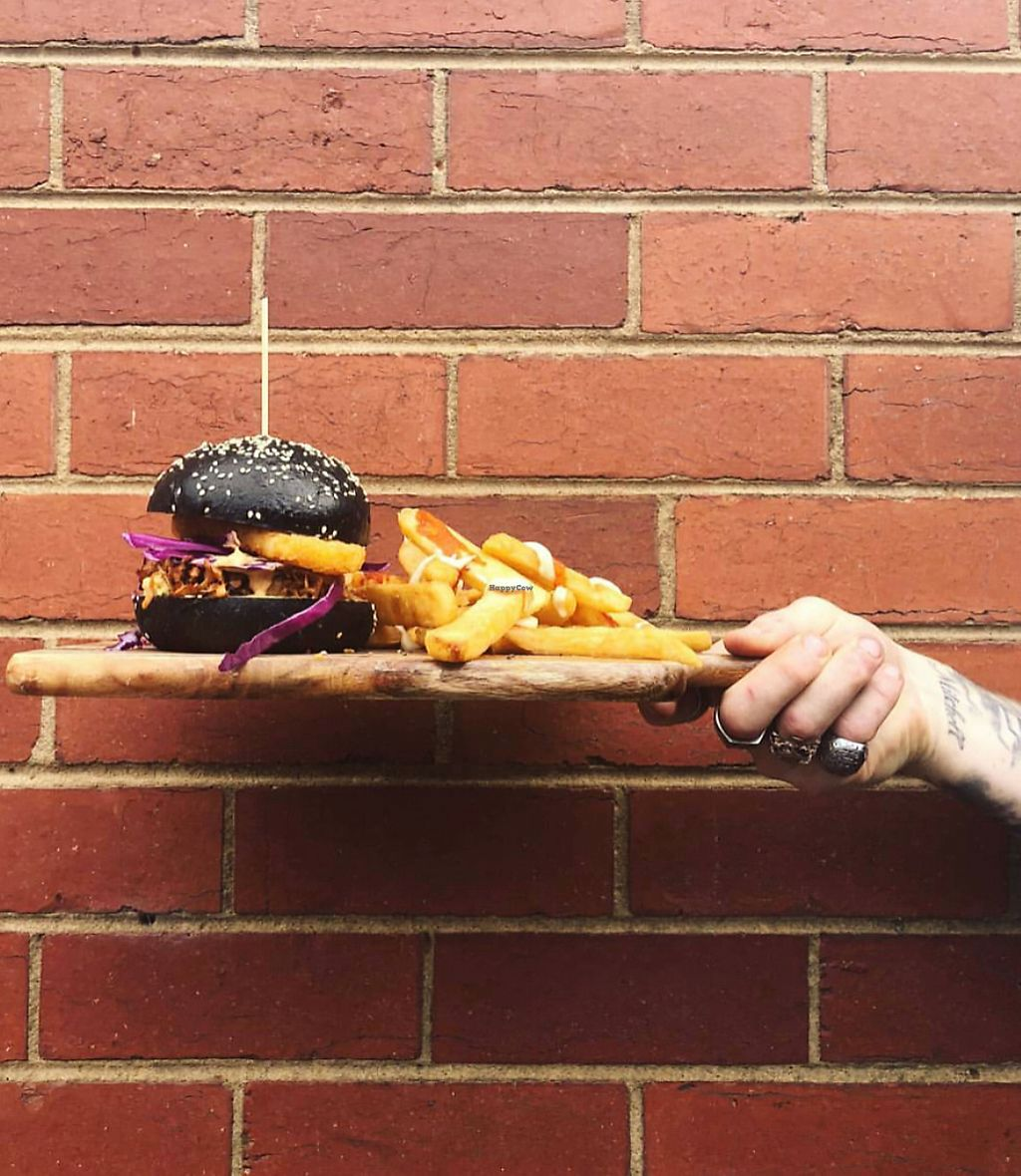 """Photo of The Elizabeth Cafe  by <a href=""""/members/profile/LaurenHarrison"""">LaurenHarrison</a> <br/>Vegan pulled """"pork"""" burger on a charcoal bun <br/> February 12, 2018  - <a href='/contact/abuse/image/111493/358330'>Report</a>"""
