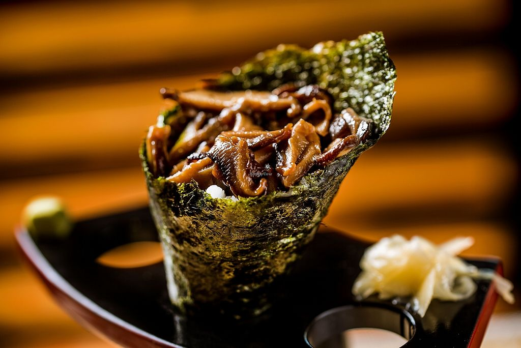 """Photo of Wakame Sushi  by <a href=""""/members/profile/Wakame"""">Wakame</a> <br/> shitake temaki <br/> February 8, 2018  - <a href='/contact/abuse/image/111521/356349'>Report</a>"""