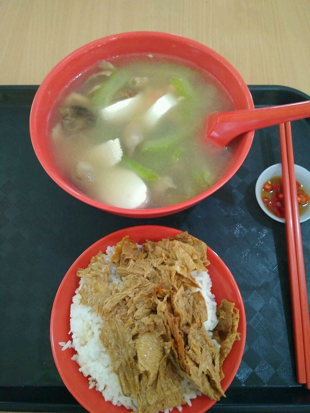 """Photo of Zervex Building Vegetarian Stall  by <a href=""""/members/profile/RichardLee"""">RichardLee</a> <br/>Bittergourd soup rice set <br/> February 9, 2018  - <a href='/contact/abuse/image/111564/356787'>Report</a>"""