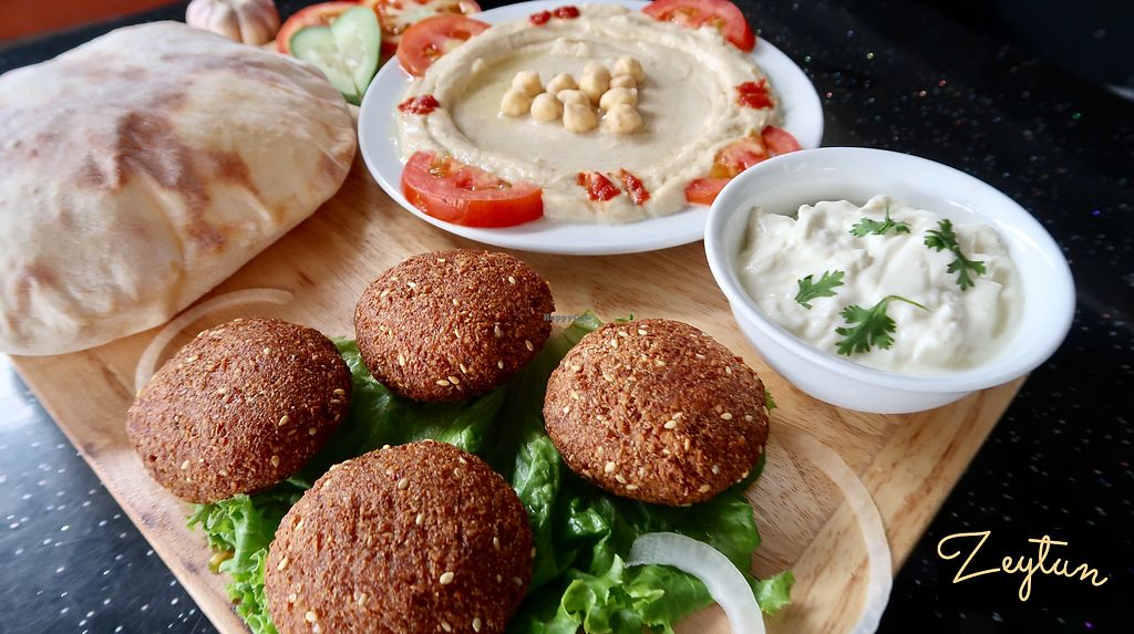 """Photo of Zeytun   by <a href=""""/members/profile/LyusineShakhbazyan"""">LyusineShakhbazyan</a> <br/>Hummus, Falafel and homemade pita bread <br/> February 8, 2018  - <a href='/contact/abuse/image/111579/356383'>Report</a>"""