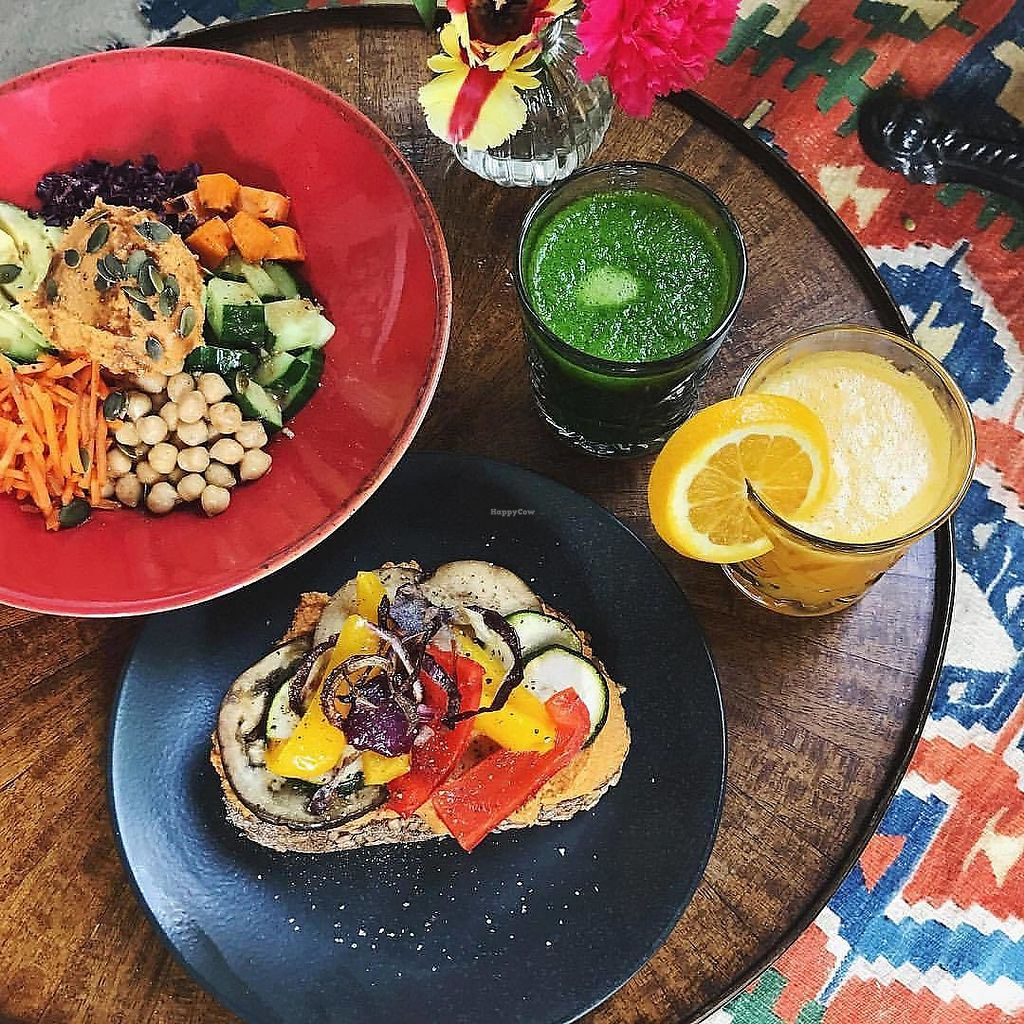 """Photo of Benji's  by <a href=""""/members/profile/happyowl"""">happyowl</a> <br/>The buddha bowl, grilled veggies bun, fresh orange juice and coconut water with spinach and banana <br/> February 13, 2018  - <a href='/contact/abuse/image/111589/358730'>Report</a>"""