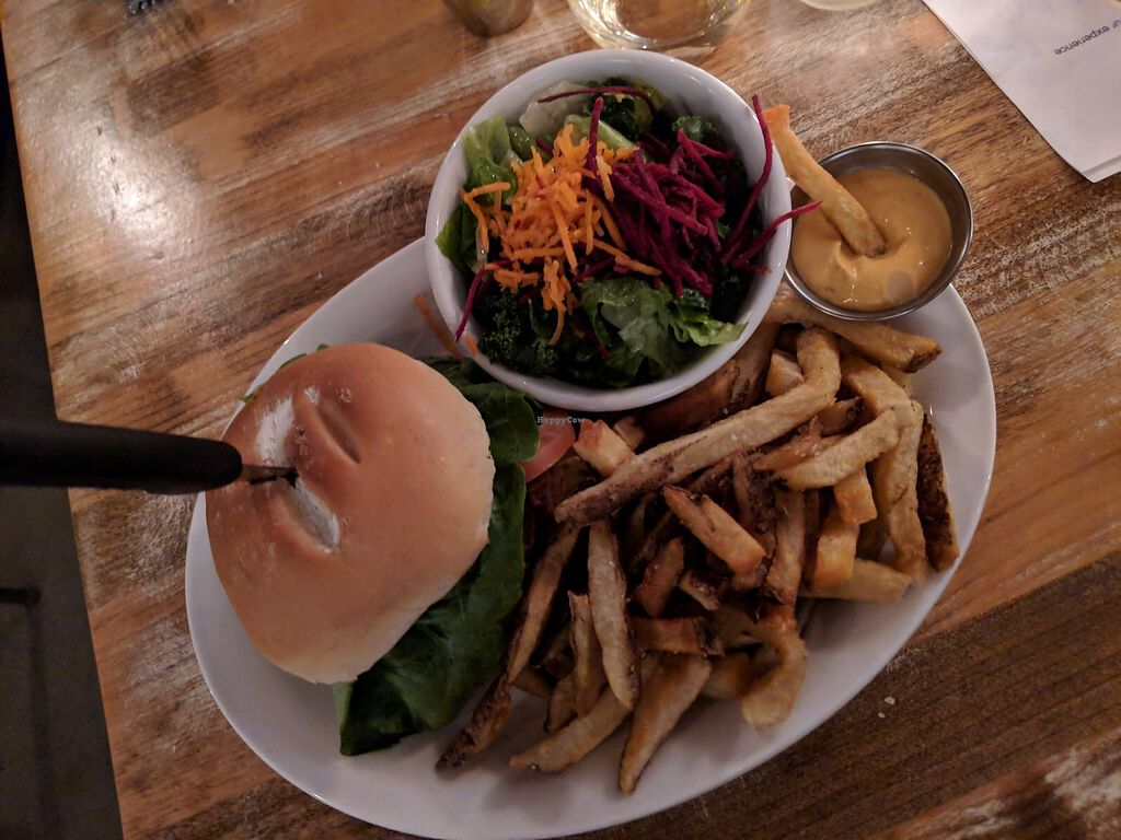 """Photo of MeeT in Yaletown  by <a href=""""/members/profile/theresabee"""">theresabee</a> <br/>BBQ Burger with fries <br/> March 5, 2018  - <a href='/contact/abuse/image/111606/366928'>Report</a>"""
