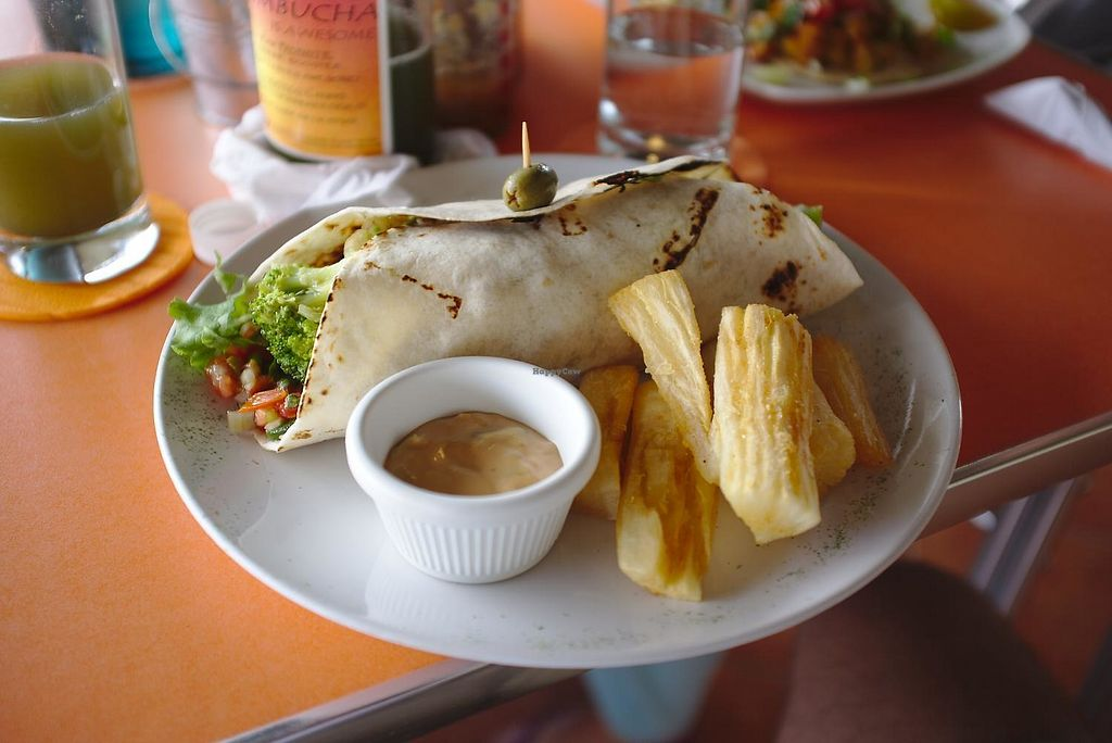 "Photo of Casa Paniagua  by <a href=""/members/profile/jacklenox"">jacklenox</a> <br/>Costa Rican Burrito, ordered without mayo to make it vegan, and with yucca fries <br/> February 10, 2018  - <a href='/contact/abuse/image/111617/357136'>Report</a>"