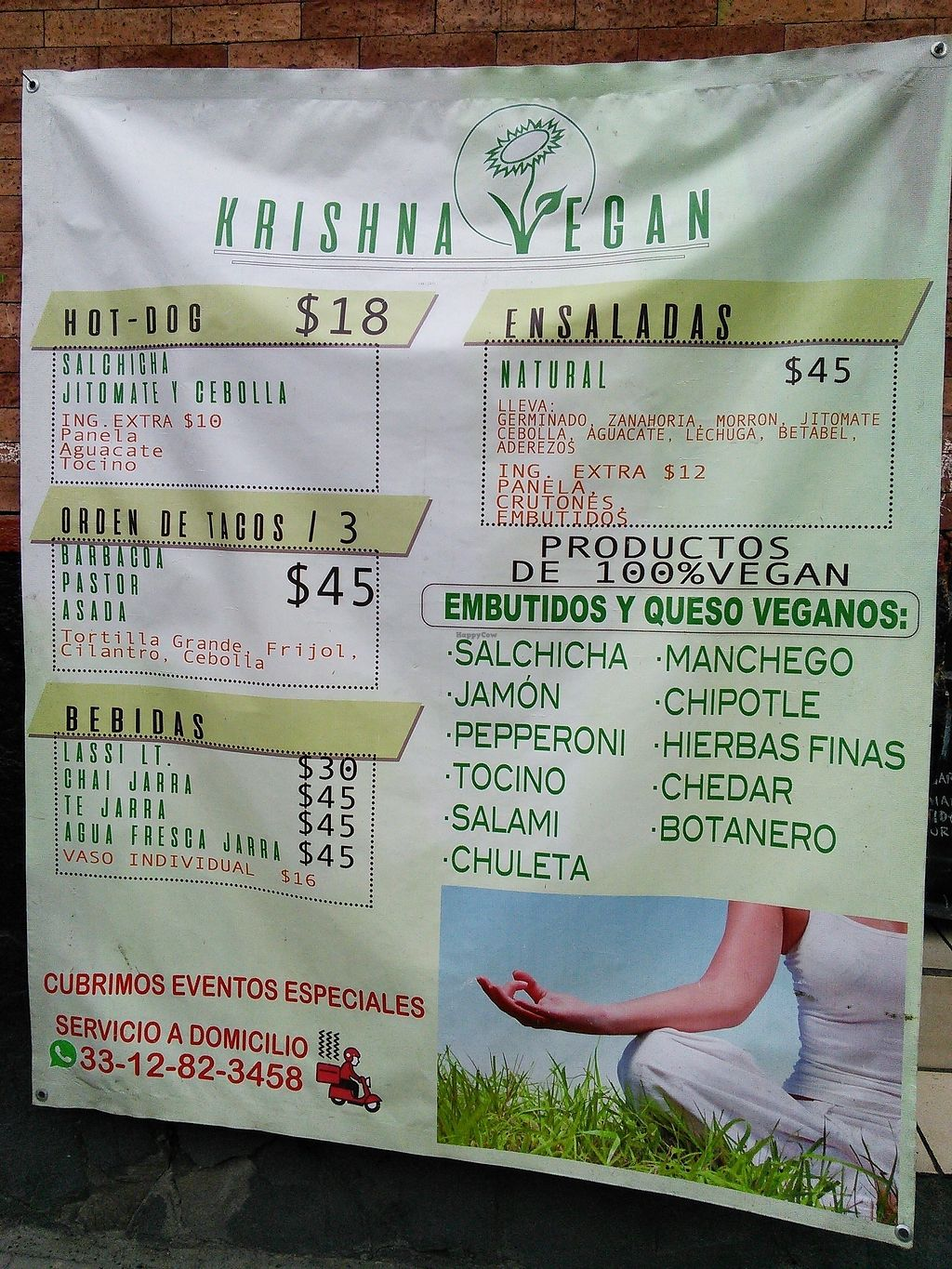 """Photo of Krishna Vegan  by <a href=""""/members/profile/Vcup"""">Vcup</a> <br/>Menu sign <br/> February 9, 2018  - <a href='/contact/abuse/image/111623/356959'>Report</a>"""