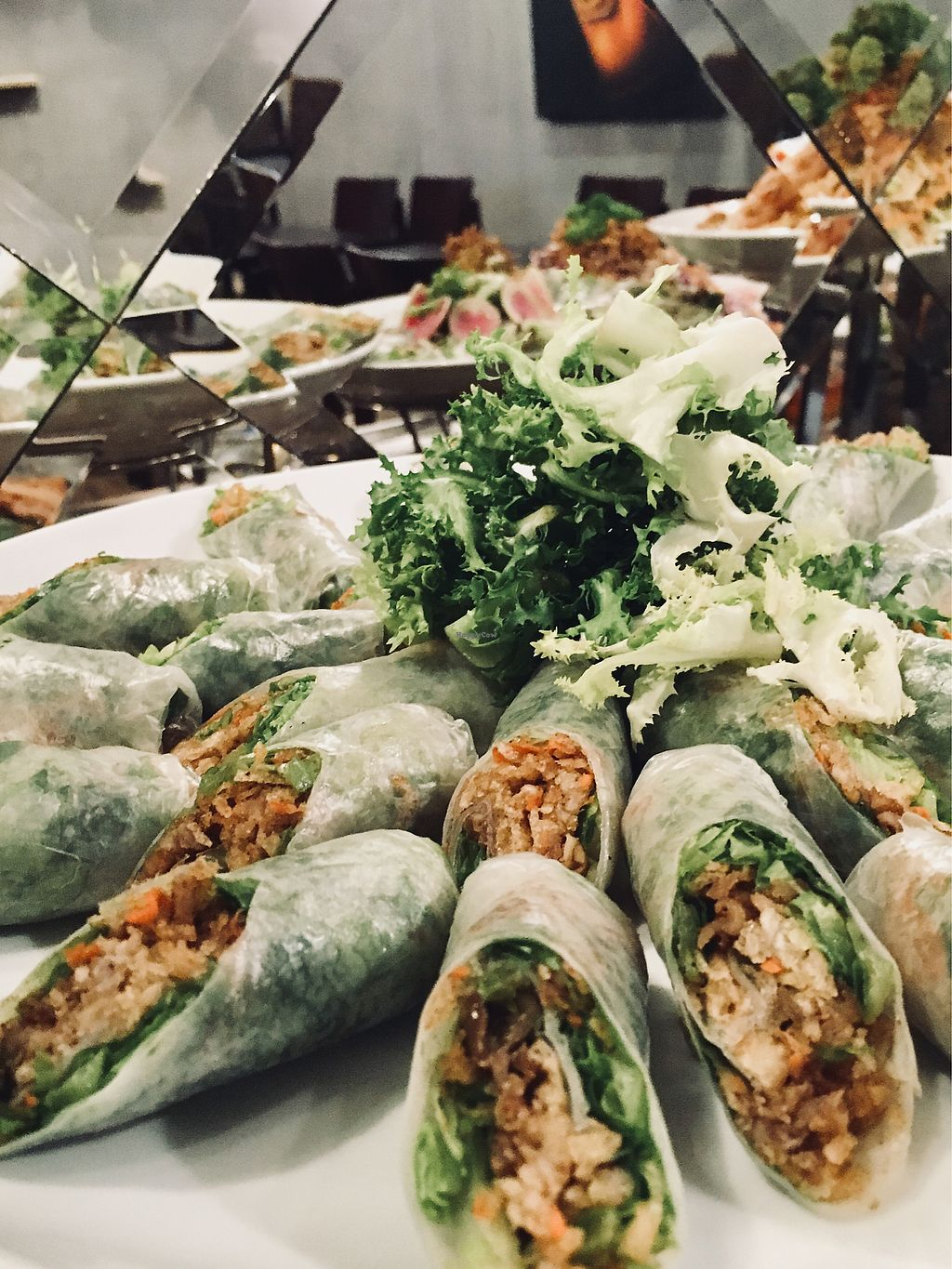 """Photo of Maha Vegan  by <a href=""""/members/profile/BastianSteinbach"""">BastianSteinbach</a> <br/>Springrolls included in vegan buffet  <br/> March 18, 2018  - <a href='/contact/abuse/image/111634/372208'>Report</a>"""