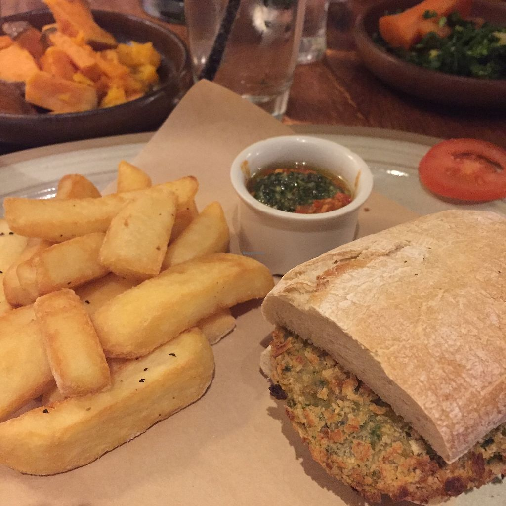 """Photo of The Three Horseshoes  by <a href=""""/members/profile/stephenwelleruk"""">stephenwelleruk</a> <br/>Chickpea, Aubergine & Spinach burger with pesto & tomato dip, and some sweet potato & butternut squash roasted with thyme & orange on the side <br/> February 12, 2018  - <a href='/contact/abuse/image/111645/358475'>Report</a>"""