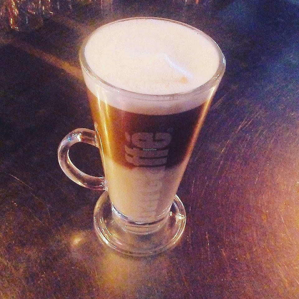 """Photo of Franky's Pub  by <a href=""""/members/profile/slovenianvegan"""">slovenianvegan</a> <br/>Soy latte.  Photo by: Jagoda T. on Facebook <br/> February 11, 2018  - <a href='/contact/abuse/image/111647/357901'>Report</a>"""