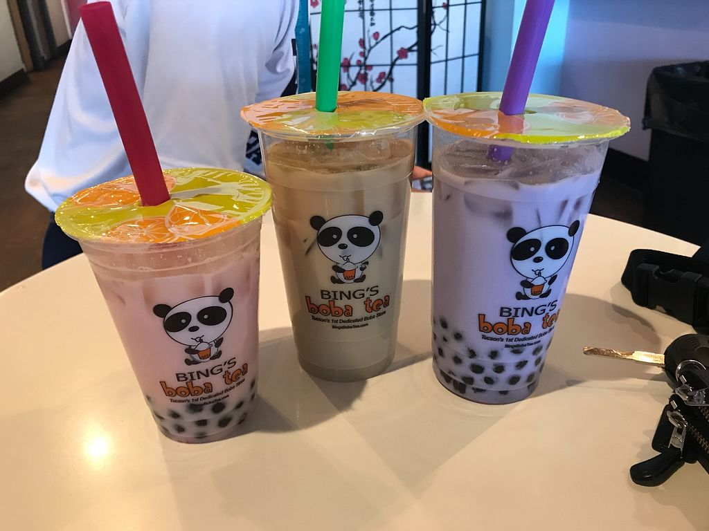 """Photo of Bing's Boba Tea  by <a href=""""/members/profile/MaceyRose"""">MaceyRose</a> <br/>Strawberry tea with coconut milk and boba on the left <br/> February 9, 2018  - <a href='/contact/abuse/image/111664/356906'>Report</a>"""