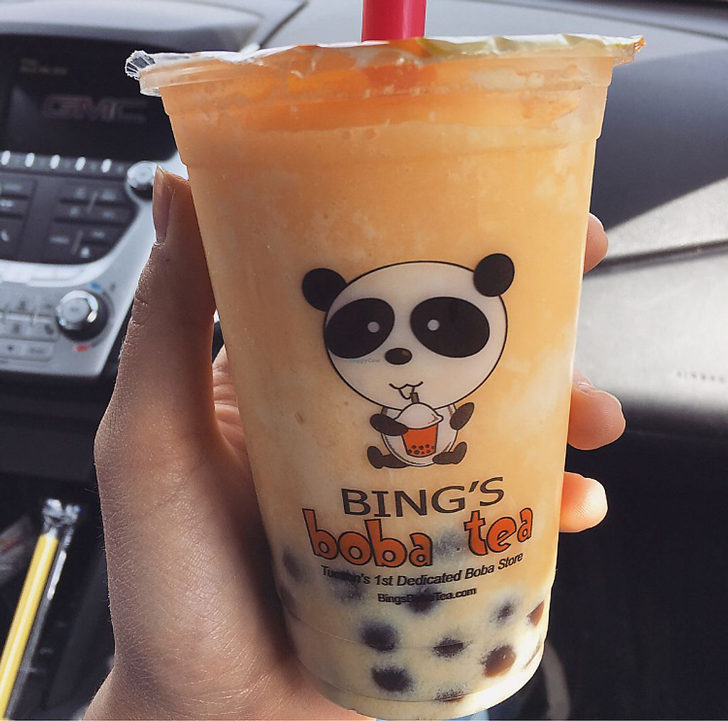 """Photo of Bing's Boba Tea  by <a href=""""/members/profile/AndreaBugyis"""">AndreaBugyis</a> <br/>Passion fruit slush with soy milk. Slushes freeze the boba btw <br/> March 18, 2018  - <a href='/contact/abuse/image/111664/372196'>Report</a>"""