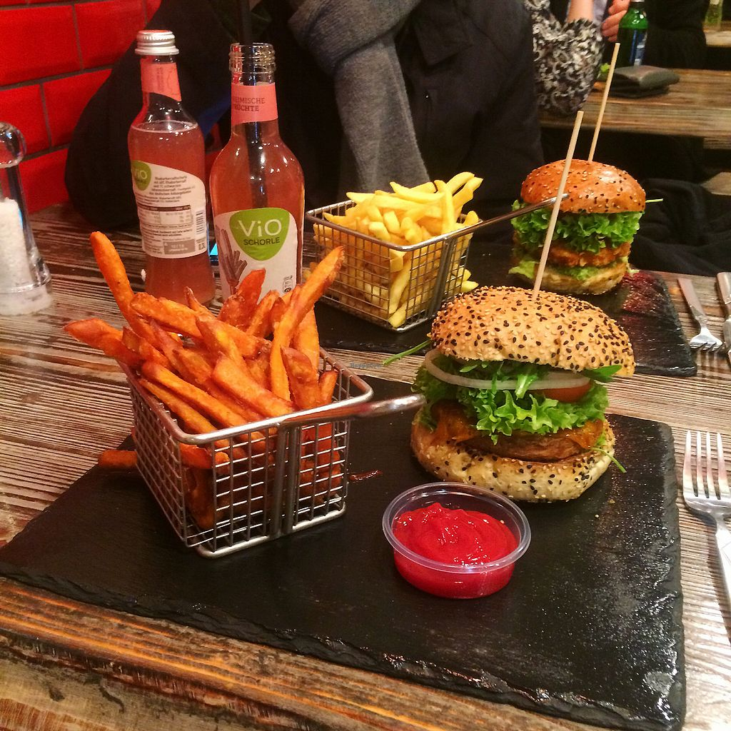 """Photo of Beef Burger  by <a href=""""/members/profile/christinexoxo"""">christinexoxo</a> <br/>Vegan cheeseburger and sweet potato fries?  <br/> March 15, 2018  - <a href='/contact/abuse/image/111738/371038'>Report</a>"""