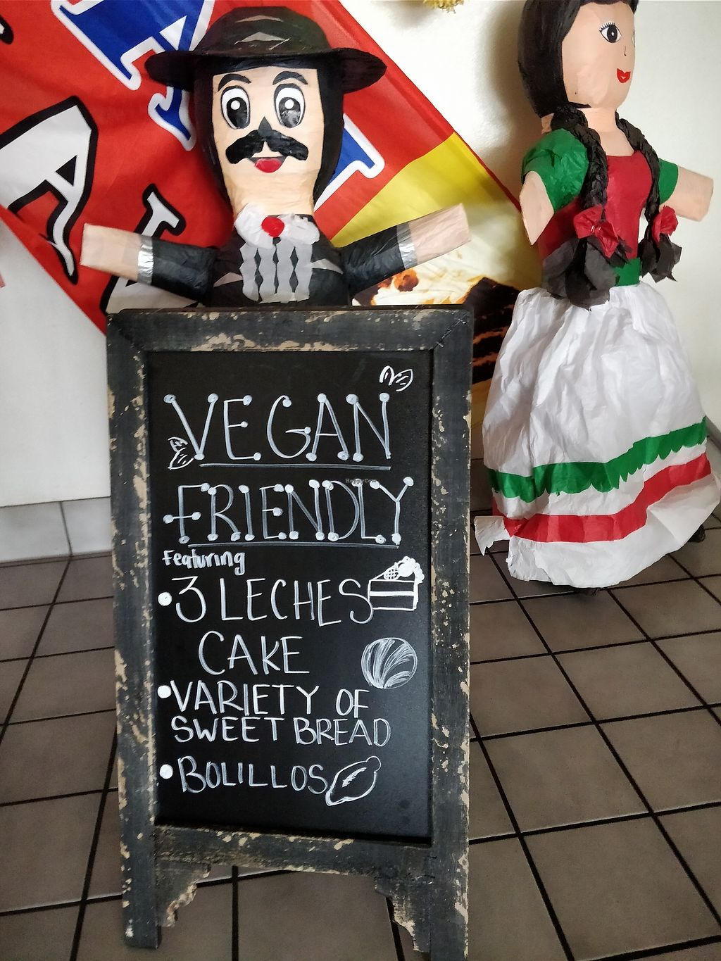 """Photo of  Panaderia Cafe Oaxaca  by <a href=""""/members/profile/SethCNelson"""">SethCNelson</a> <br/>""""Vegan Friendly"""" sign they put out front <br/> February 11, 2018  - <a href='/contact/abuse/image/111740/357634'>Report</a>"""