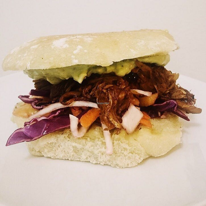 """Photo of Stir It Up  by <a href=""""/members/profile/Chlo%C3%ABWeale"""">ChloëWeale</a> <br/>BBQ pulled jackfruit on a bed of mango slaw - topped with a creamy avocado guac! All served up on an organic ciabatta bun from @breadworkspei <br/> February 15, 2018  - <a href='/contact/abuse/image/111791/359681'>Report</a>"""