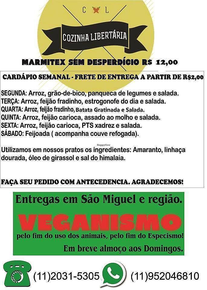 """Photo of Cozinha Libertária  by <a href=""""/members/profile/GabrielMelo"""">GabrielMelo</a> <br/>Menu <br/> February 11, 2018  - <a href='/contact/abuse/image/111799/358127'>Report</a>"""