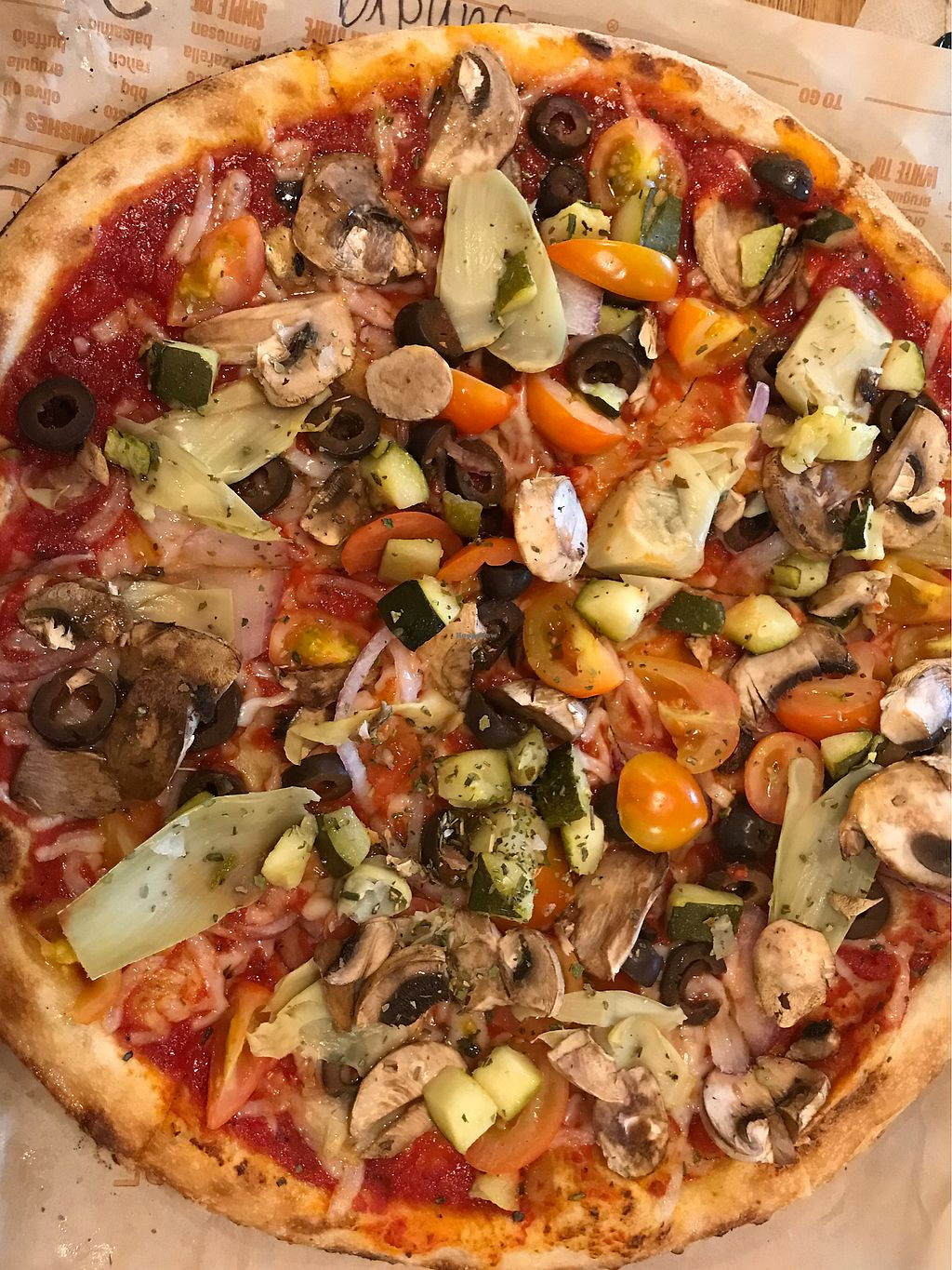 "Photo of Blaze Pizza  by <a href=""/members/profile/SandraReis"">SandraReis</a> <br/>Vegan pizza!! It was delicious!!! <br/> March 25, 2018  - <a href='/contact/abuse/image/111840/375928'>Report</a>"