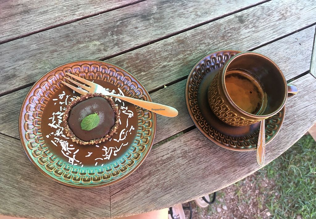 """Photo of The Octopi Garden Sanctuary  by <a href=""""/members/profile/Unski1290"""">Unski1290</a> <br/>Choco Mint Tart and espresso <br/> February 13, 2018  - <a href='/contact/abuse/image/111850/358687'>Report</a>"""