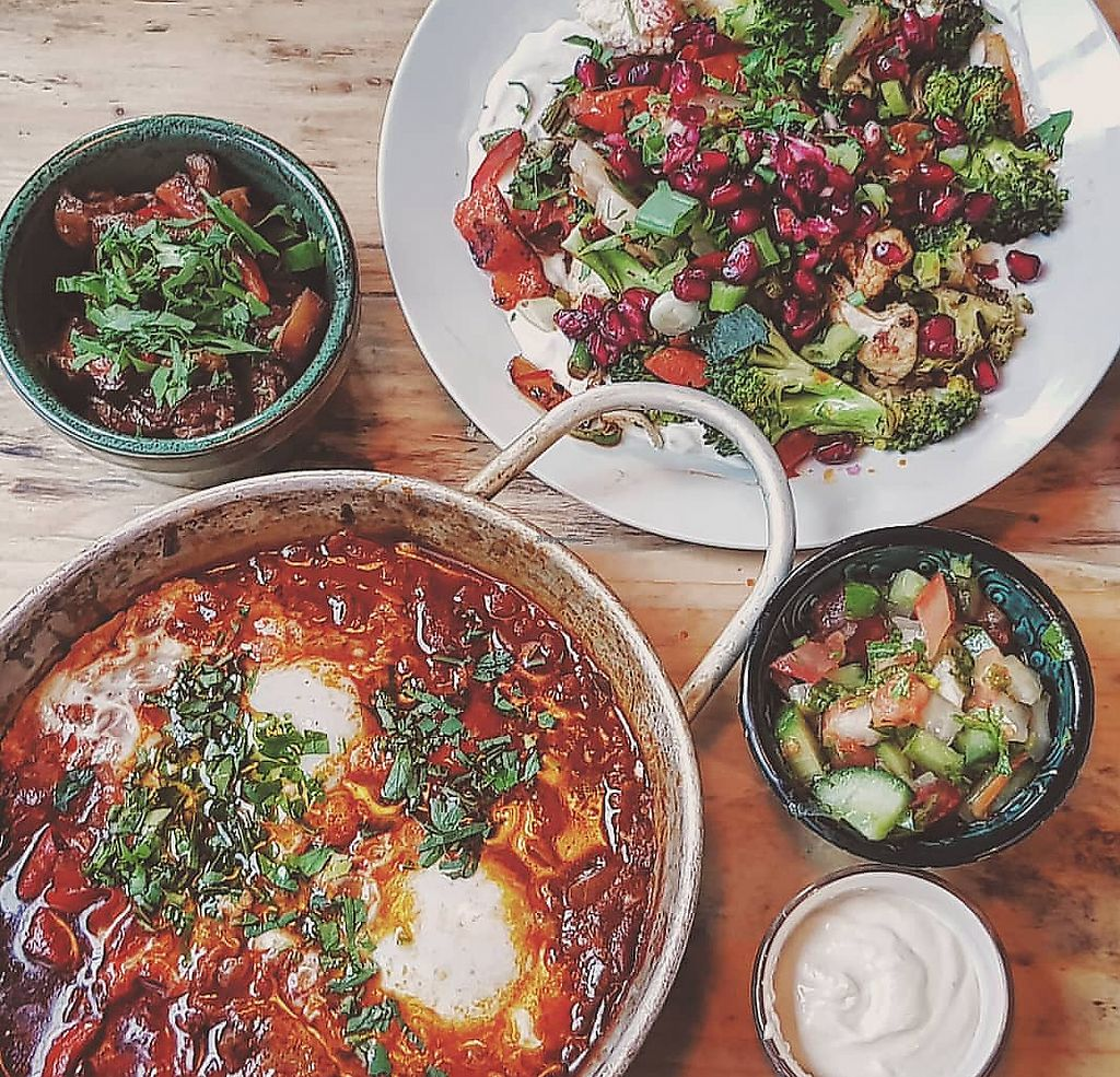 """Photo of Shouk  by <a href=""""/members/profile/Cnagyro"""">Cnagyro</a> <br/>Veggies salad and Shakshuka (you may ask for this with falafels instead the eggs <br/> February 14, 2018  - <a href='/contact/abuse/image/111873/359162'>Report</a>"""