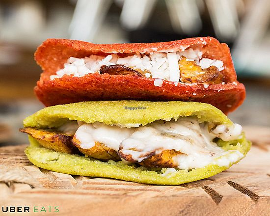 "Photo of Reina Vegana  by <a href=""/members/profile/ValeSiegrist"">ValeSiegrist</a> <br/>Airfried Plantains & Vegan Cheese Arepas <br/> April 20, 2018  - <a href='/contact/abuse/image/111877/388712'>Report</a>"