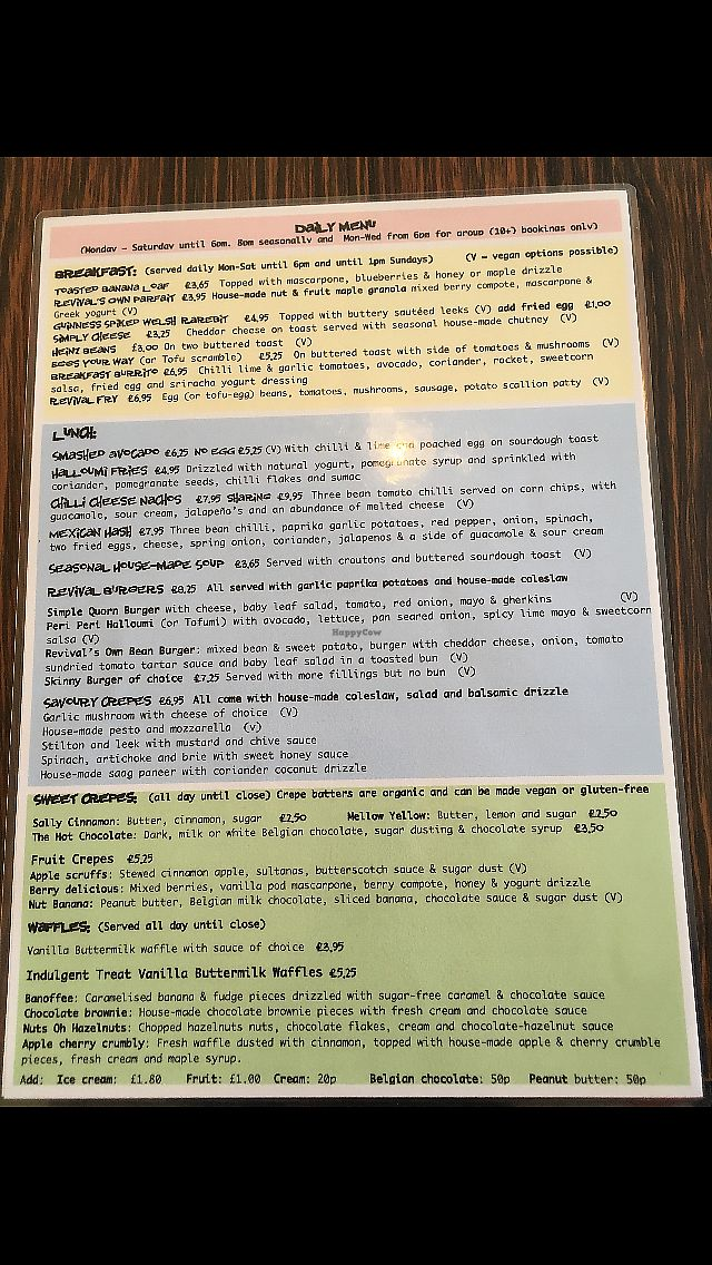 """Photo of Revival  by <a href=""""/members/profile/Cathmog"""">Cathmog</a> <br/>The menu! Good selection of food!  <br/> April 11, 2018  - <a href='/contact/abuse/image/111890/383975'>Report</a>"""