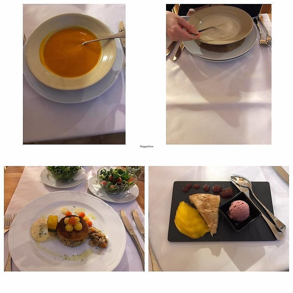 "Photo of Eco Vila Mila  by <a href=""/members/profile/slovenianvegan"">slovenianvegan</a> <br/>Vegan lunch. Soup: pumpkin and cauliflower. Main dish: barley porridge, vegetable steak, corn meal, vegetables, salad. Dessert: mango, apple strudel, grape sorbet and cream.