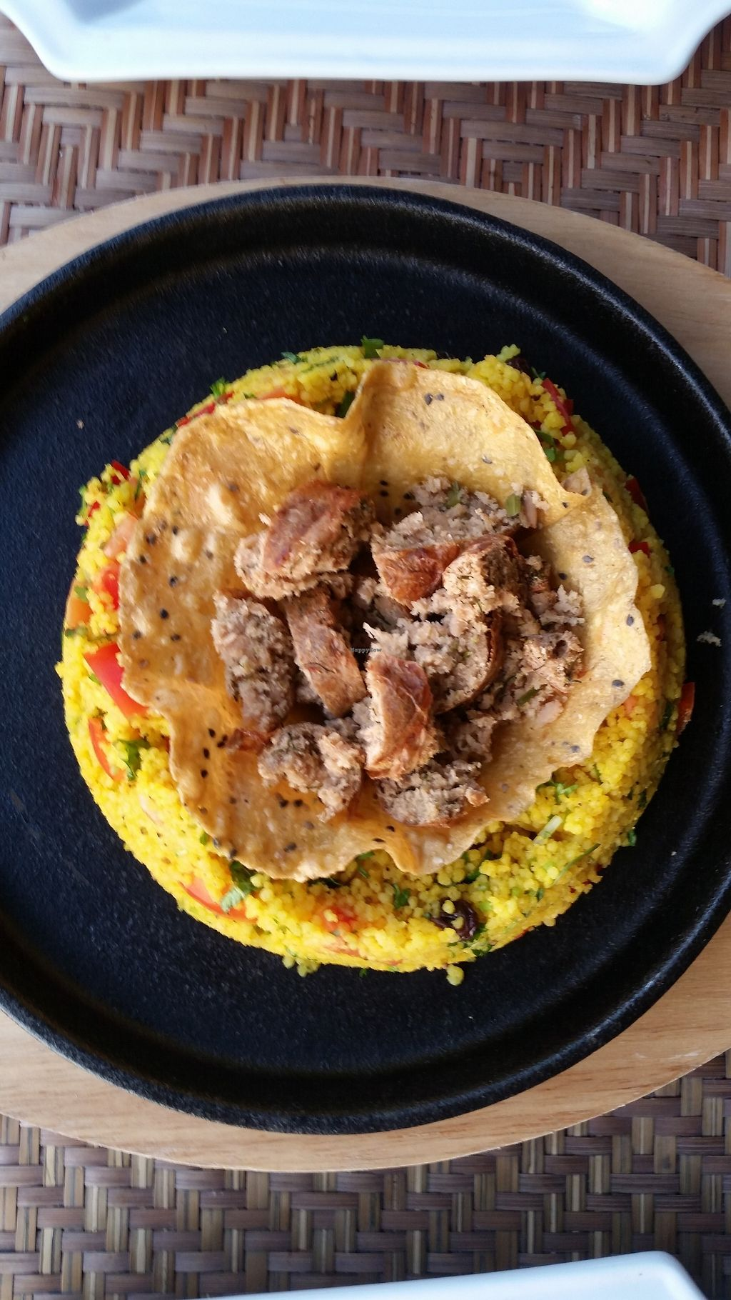"""Photo of Ock Pop Tok Living Craft Centre  by <a href=""""/members/profile/Nimeda"""">Nimeda</a> <br/>Tabouleh with vegan sausage in a galette <br/> February 14, 2018  - <a href='/contact/abuse/image/111949/359052'>Report</a>"""