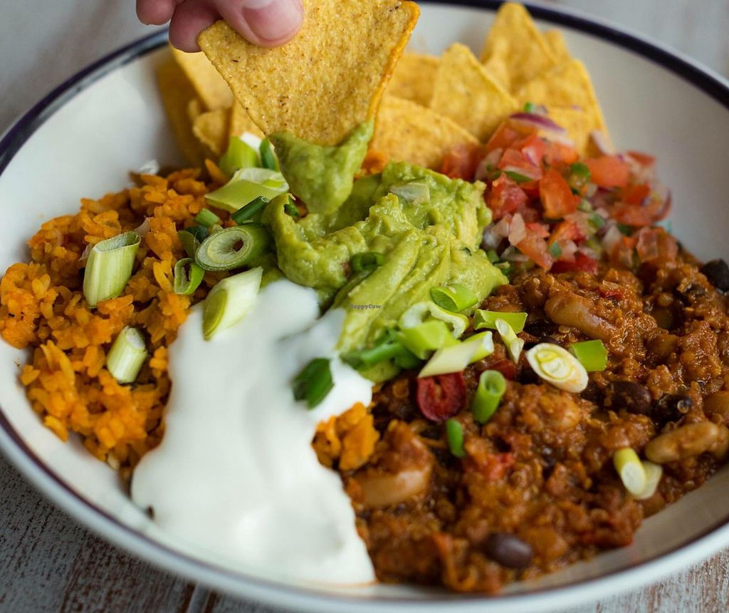 """Photo of Slug & Lettuce  by <a href=""""/members/profile/RuthKaypee"""">RuthKaypee</a> <br/>Quinoa chilli and rice with vegan guacamole and mayo <br/> February 14, 2018  - <a href='/contact/abuse/image/111998/359375'>Report</a>"""